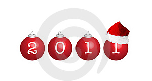 Santa Hat On A New Year Red Balls Royalty Free Stock Photo - Image: 17237435
