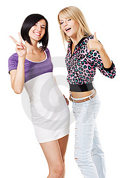 Young Lovely Women Showing Royalty Free Stock Images - Image: 17240039