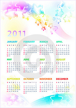 Calendar 2011 With The Stars. Stock Photography - Image: 17243532
