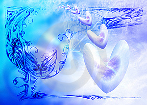 Soft  Blue Celestial Background With Hearts Royalty Free Stock Photo - Image: 17249305