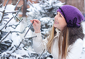 Girl Touched His Hand A Branch Eating Stock Photo - Image: 17252820