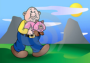 Bald Man And His Big Pink Pig Royalty Free Stock Images - Image: 17253549