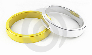 Gold And Platinum Wedding Rings Royalty Free Stock Photography - Image: 17260097