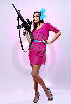 Attractive And Sexy Spy Woman With Assault Rifle Stock Photo - Image: 17260680
