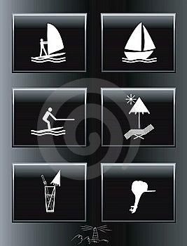 Sea Resort Icons Set. Stock Photo - Image: 17262680