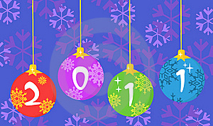 New Year Baubles Over Snowflakes Royalty Free Stock Photography - Image: 17264467