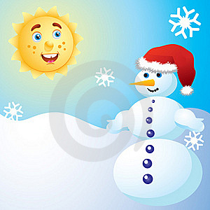 Snowman And The Sun. Stock Image - Image: 17266221