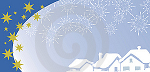 Christmas Greetings Card With Village Under Snow Stock Photography - Image: 17266502