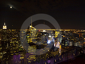 Manhattan Skyline At Night Stock Image - Image: 17268991