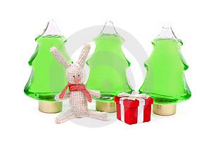 Knitted Rabbit And A Red Box Gifts Stock Photo - Image: 17277220