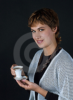 Girl With A Cup Of Coffee Stock Photo - Image: 17282430