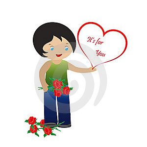Boys With Roses And Heart Royalty Free Stock Images - Image: 17285489