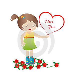 Girl With Roses And Heart Stock Image - Image: 17285501
