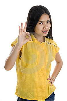 Woman With Ok Sign Royalty Free Stock Image - Image: 17289166