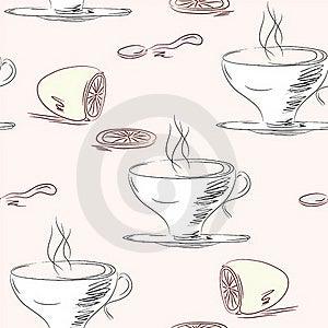 Tea Cups Seamless Pattern Stock Image - Image: 17293251