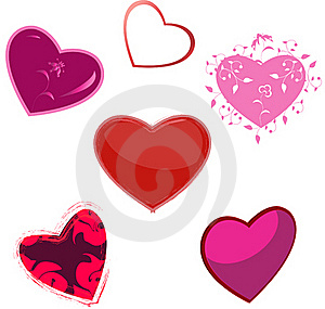 The Hearts, Five Variants Stock Photo - Image: 17293410