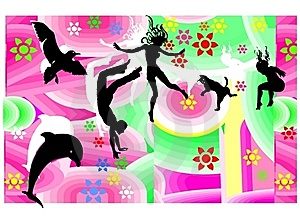 Jumping Flying Happy Figures Stock Images - Image: 17294444
