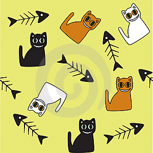 Background With Cats And Fish Skeletons. Stock Images - Image: 17295774