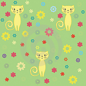 Seamless Cat And Flowers Background. Stock Photography - Image: 17295812