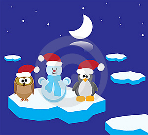 An Owl, A Penguin And A Snowman On The Ice Floe Royalty Free Stock Images - Image: 17296119