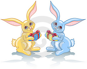 Two Rabbits And Gift. Royalty Free Stock Photos - Image: 17296738