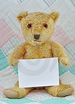 Teddy Bear With  Blank Card Stock Photo - Image: 17297650