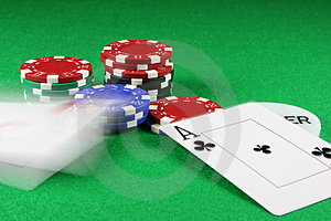 Poker - Beat That - A Pair Of Aces Thrown On The Baize Royalty Free Stock Image - Image: 1733166