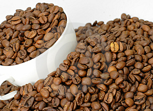 Coffee beans in a cup Free Stock Image