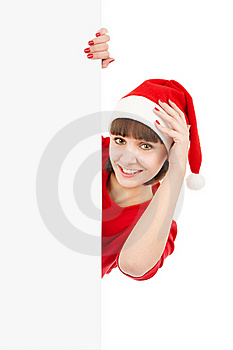 Santa Woman Holding Blank Sign Billboard Royalty Free Stock Photos - Image: 17306508