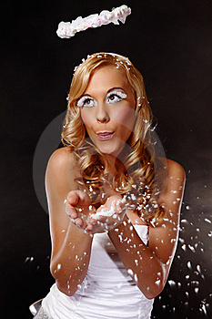 Portrait Of A Nice Angel Girl Blow Snow Royalty Free Stock Photos - Image: 17307048
