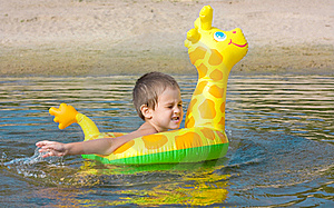 Child Swims In The River Royalty Free Stock Photos - Image: 17310888