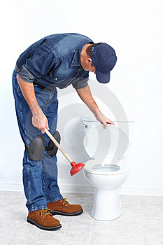 Plumber With A Plunger Royalty Free Stock Image - Image: 17312956