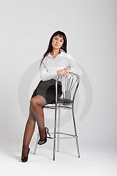 Attractive Young Woman In A White Blouse Stock Photography - Image: 17313042