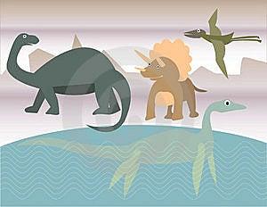 Four Dinosaurs In Prehistoric Scene Stock Photos - Image: 17313093