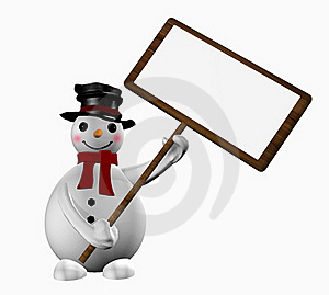 Snowman With A Sign Stock Image - Image: 17314151