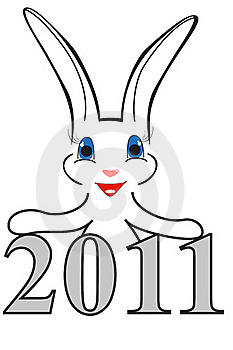 Funny Christmas Rabbit With New Year Date Royalty Free Stock Photography - Image: 17318517