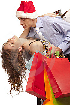Lovely Couple Making Christmas Shopping Stock Photography - Image: 17318622