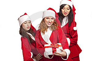 Santas With A Gift Box Royalty Free Stock Photo - Image: 17318645