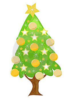 Decorated Golden Christmas Tree Stock Image - Image: 17322551
