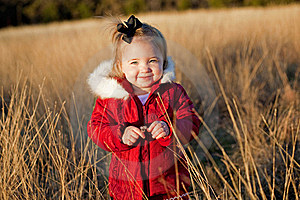 Small Girl In Red Jacket In A Field Royalty Free Stock Image - Image: 17323456