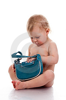 Baby Looking Into A Small Bag Royalty Free Stock Photos - Image: 17325388