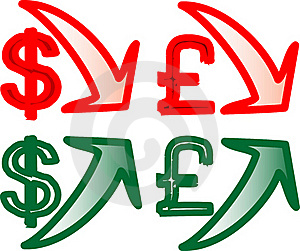 Dollar Pound Currency Rising And Falling Royalty Free Stock Images - Image: 17326969