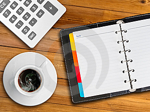 White Notebook And White Cup Of Hot Coffee Stock Photo - Image: 17328300