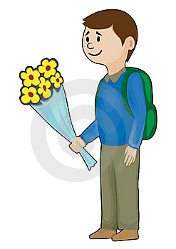 Schoolboy With Flowers Royalty Free Stock Images - Image: 17328899