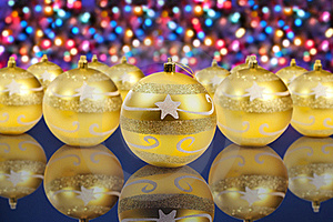 Golden Christmas Decoration Balls Stock Images - Image: 17332334