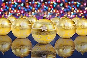 Golden Christmas Decoration Balls Stock Images - Image: 17332334