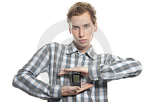 Man With Mobile Phone Over White Royalty Free Stock Photography - Image: 17337987