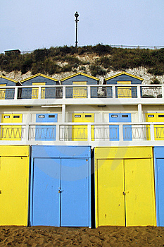 Blue And Yellow Beach Huts Royalty Free Stock Image - Image: 17338426