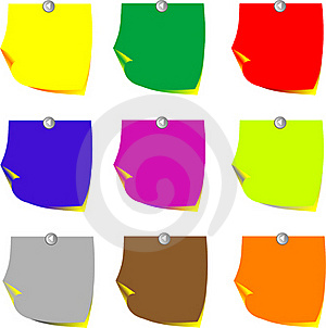 Reminder Notes On The Bright Colorful Paper Royalty Free Stock Images - Image: 17338579
