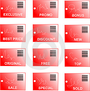 Red Tag And Sticker Set With Bar Codes And Abstrac Stock Photos - Image: 17338923